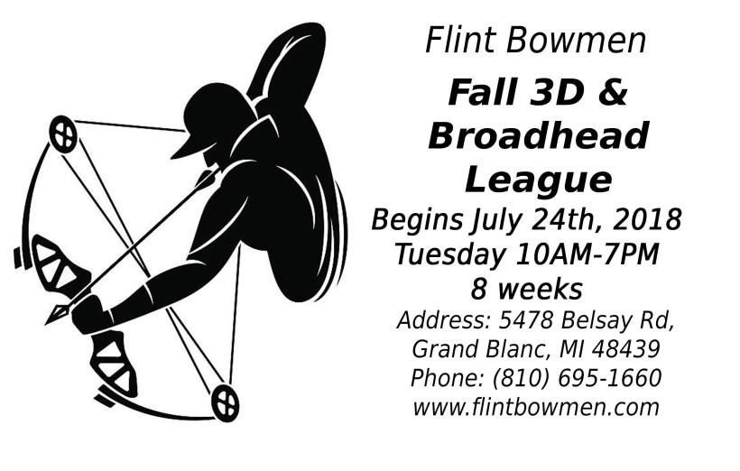 Flint Bowmen Fall 3D & Broadhead League 2018